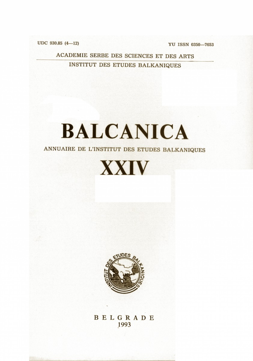 BALCANICA - Annual of the Institute for Balkan Studies XXIV